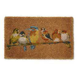 felpudo de diseño estampado con pájaros de colores ideal para la puerta de tu casa