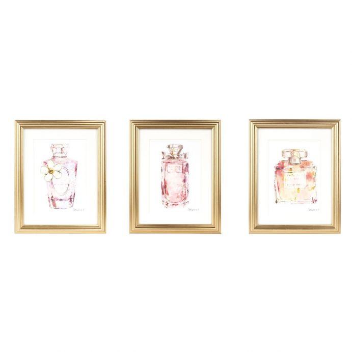 3 láminas enmarcadas Perfume Bottles