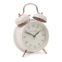 reloj despertador de estilo clásico color crema con campana