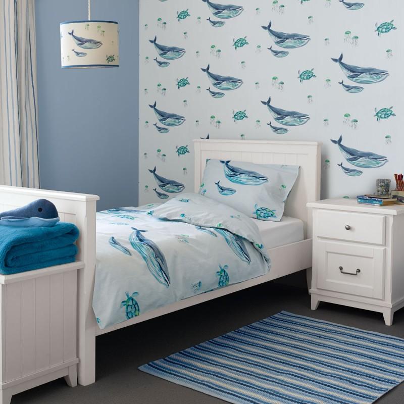 Comprar papel pintado whales azul de dise o laura ashley for Papel pintado azul