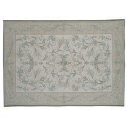 alfombra de diseño clásico en elegante estampado en azul verdoso