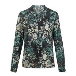 blusa negra de flores Laura Ashley