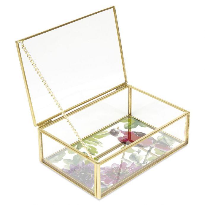 joyero de cristal y borde dorado con pájaro impreso, Laura Ashley