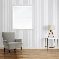 papel pintado de rayas gris Brampton, de Laura Ashley