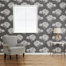 papel pintado de flores negro Hermione, de Laura Ashley