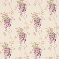 papel pintado de flores Wisteria morado uva, de Laura Ashley