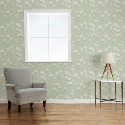 papel pintado de flores verde seto Magnolia Grove, de Laura Ashley
