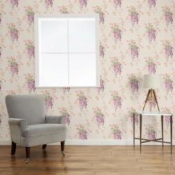 papel pintado de flores Wisteria morado uva, de Laura Ashley