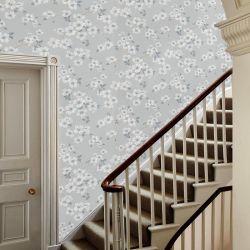 papel pintado de flores gris pizarra Iona, de Laura Ashley