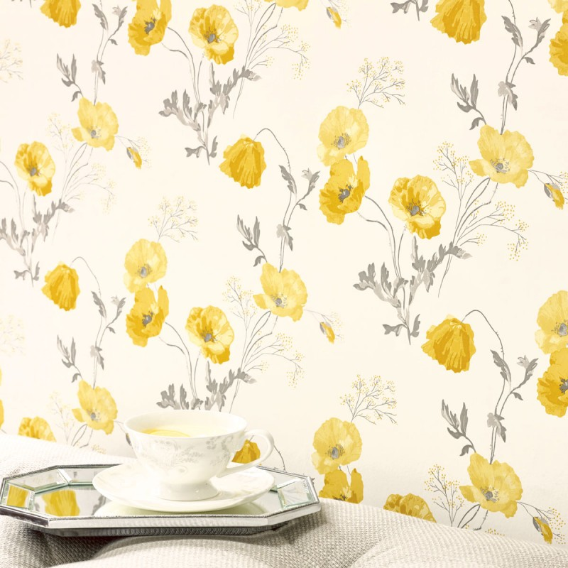 Comprar papel pintado poppy meadow amarillo primavera de - Papel pintado laura ashley ...