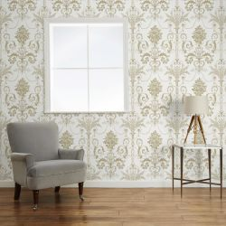 papel pintado diseño clásico Josette oro, Laura Ashley