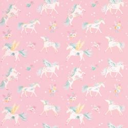 papel pintado infantil de unicornios rosa, de Laura Ashley