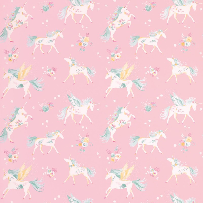 Papel pintado unicorns rosa for Papel decorativo infantil