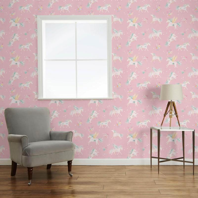 Papel pintado unicorns rosa - Papel pintado laura ashley ...