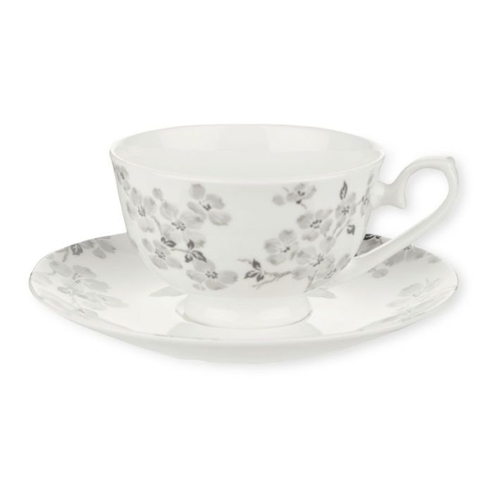 taza y plato de flores Iona gris, Laura Ashley