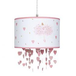 lámpara de techo bailarinas y corazones rosas