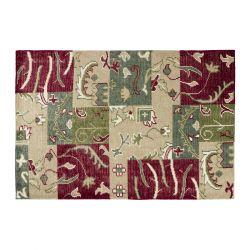 alfombra patchwork rojo y verde