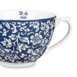 taza y plato de flores azul