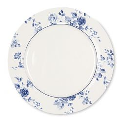 plato llano con flores azules