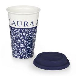 taza con flores azules y tapa, para llevar
