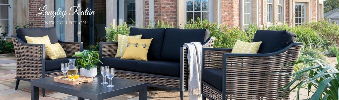 colección langley muebles de jardín con estilo y toques negros